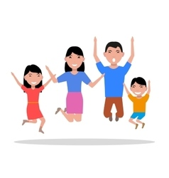 cartoon jumping of happiness family vector image
