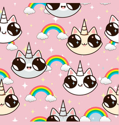 cats unicorns and a rainbow vector image