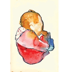 Child with a baby bottle - water colors into vector