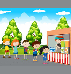 Children buying drinks in park vector