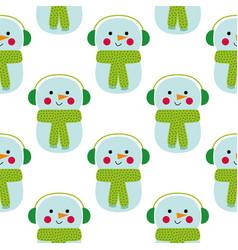 christmas seamless pattern with a cartoon snowman vector image