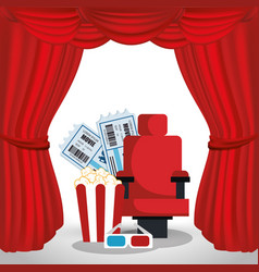 Cinema chair with pop corn and tickets vector