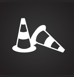 construction cone on black background vector image