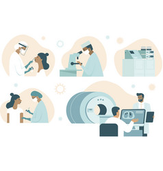 Coronavirus covid-19 set tests lab workers vector