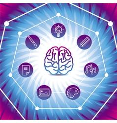 creativiy concept - brain icon on blue back vector image vector image