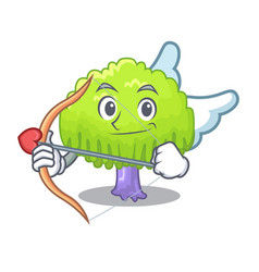 Cupid isolated weeping willow on the mascot vector