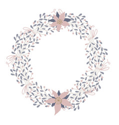 cute and elegant floral round frame pastel vector image