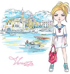 Cute fashion girl in vernazza italia vector