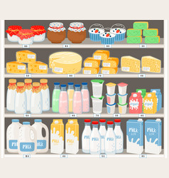 dairy products in supermarket vector image