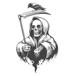 Death with scythe and crow vector