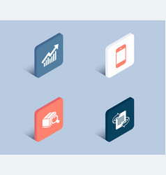 Demand curve search package and smartphone icons vector
