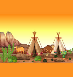 Desert scene with tents and camels vector