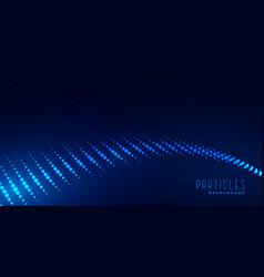 Digital blue particles wave background vector