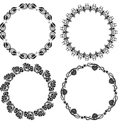 Drawing set decorative floral round frames vector