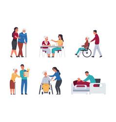 elder people care volunteers helping old people vector image
