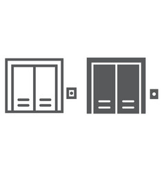 Elevator line and glyph icon real estate and home vector
