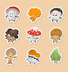 Emoticons mushrooms vector