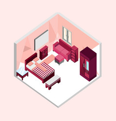Feminine bedroom isometric home interior design vector