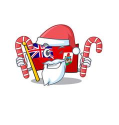 Flag bermuda santa bring candy cartoon on vector