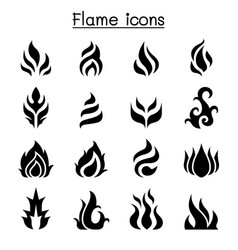 Flame fire burn icon set vector