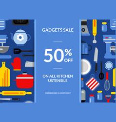 Flat style kitchen utensils sale background vector