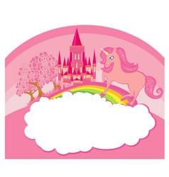 Frame with a cute unicorn and rainbow vector