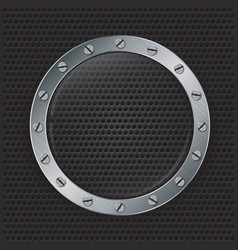 Glass in mettalic frame on abstract speaker grill vector