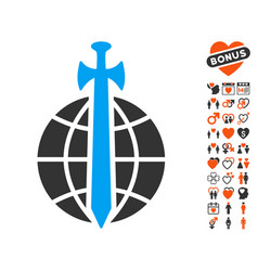 global guard icon with valentine bonus vector image vector image