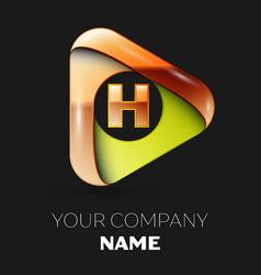 golden letter h logo in golden-green triangle vector image