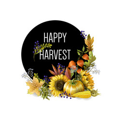Greeting banner of harvest with autumn leaves vector