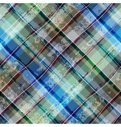 Grunge plaid background vector image