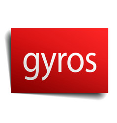 Gyros red square isolated paper sign on white vector