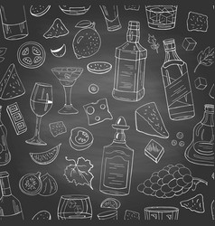 hand drawn alcohol and drinks elements on vector image