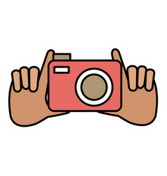 hands with photographic camera vector image