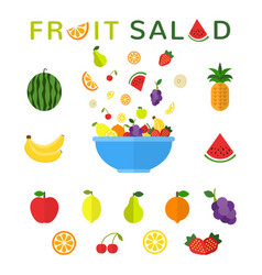 healthy food concept fruit salad in blue bowl vector image