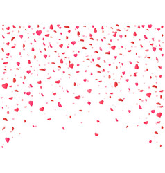heart confetti falling on white background flower vector image