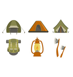 hiking camping icons set touristic travel vector image