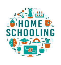 Home schooling lettering distance learning or vector