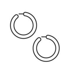 Huggie or hoop earring jewelry related outline vector