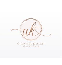Initial ak handwriting logo with circle template vector