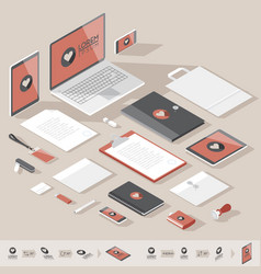 isometric corporate identity template vector image