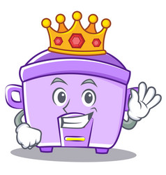 King rice cooker character cartoon vector