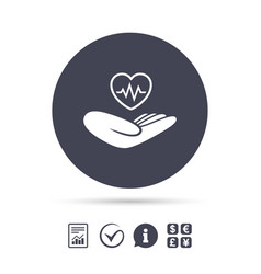 Life insurance sign hand holds heart vector