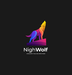 Logo night wolf gradient colorful vector