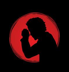 Man prayer graphic vector