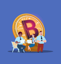 man woman laptop bitcoin online crypto currency vector image