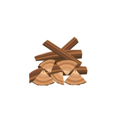 Messy pile firewood in cartoon flat style vector