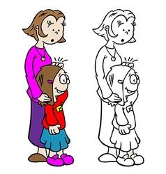 Mom holding little girl vector