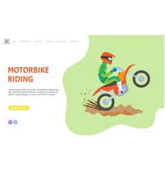 motorbike riding website with man on bike web vector image