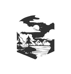 Mountains camping forest camp hand drawn t vector